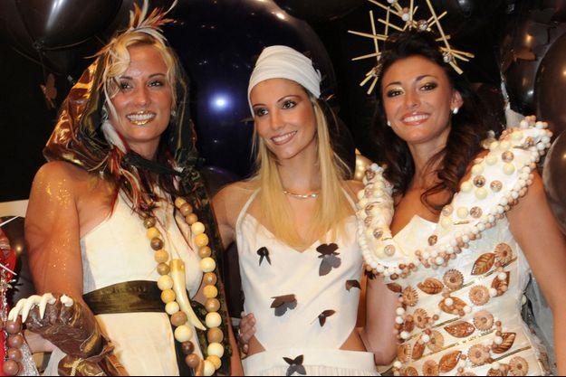 Elodie Gossuin, Alexandra Rosenfeld et Rachel Legrain-Trapani au Salon du Chocolat en 2008