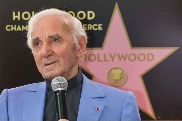 Charles Aznavour le 24 août 2017 lors de l'inauguration de son étoile sur Hollywood Boulevard