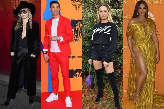 Miley Cyrus, Cristiano Ronaldo, Ilona Smet et Beyoncé.