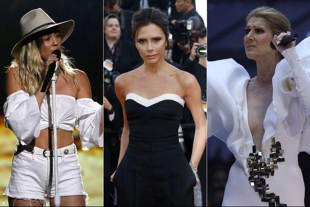 Miley Cyrus, Victoria Beckham et Céline Dion.