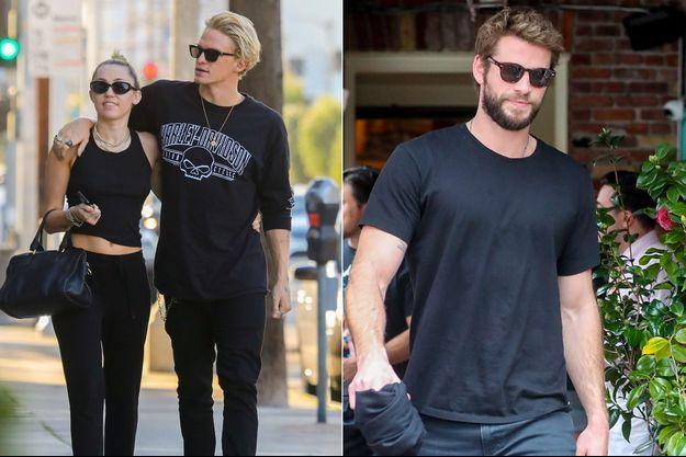 A gauche : Miley Cyrus et son actuel petit ami Cody Simpson ; à droite Liam Hemsworth