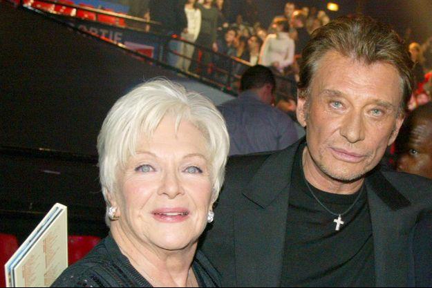 Line Renaud et Johnny Hallyday, en janvier 2005.