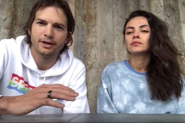 """Mila Kunis et Ashton Kutcher inaugurent leur """"vin de quarantaine"""", le 19 avril 2020"""