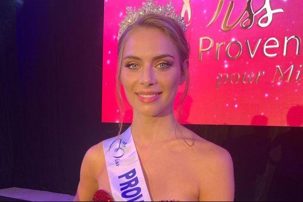 April Benayoum, Miss Provence, le soir de son élection à Cogolin le 24 octobre 2020