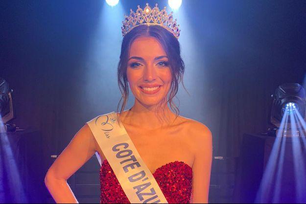 Lara Gautier, Miss Côte d'Azur, le soir de son élection le 23 octobre 2020 à Mandelieu-La Napoule