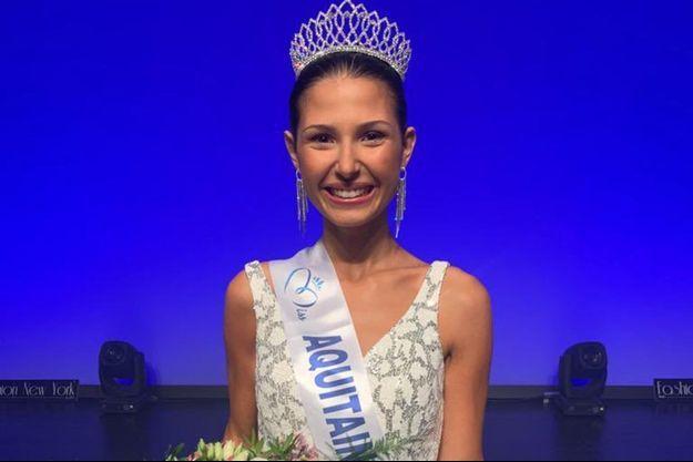Miss Aquitaine 2020 Leïla Veslard le soir de son élection à Anglet le 29 août