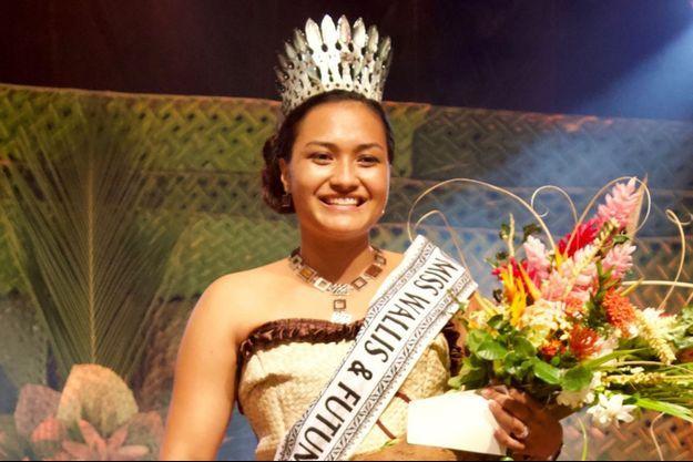 Mylène Halemai, Miss Wallis-et-Futuna, le soir de son élection à Kafika le 26 septembre 2020