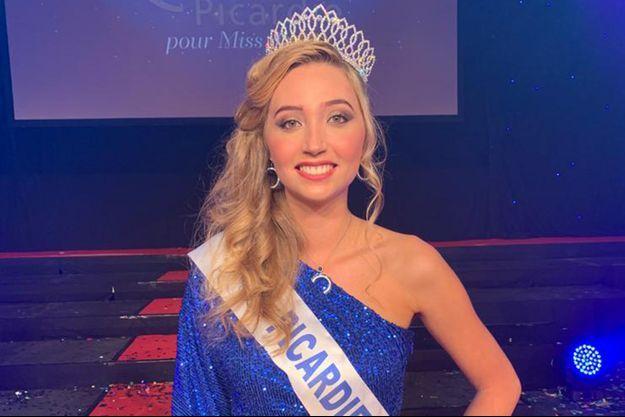 Tara de Mets, Miss Picardie, le soir de son élection à Beauvais le 11 octobre 2020