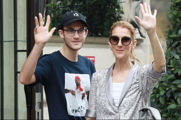 René-Charles Angélil et Céline Dion en juillet 2017 à Paris
