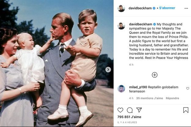 Le message de condoléances de David Beckham.