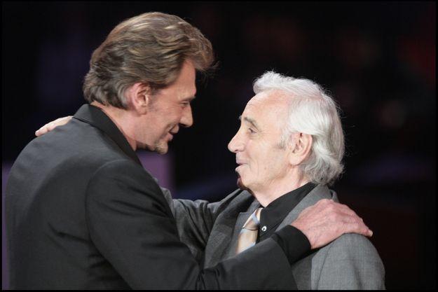 Johnny Hallyday et Charles Aznavour en 2005.
