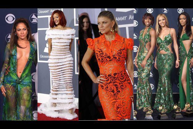 """Quelques exemples de tenues que CBS a dû trouver """"limites"""" aux Grammys: JLo en 2000, Rihanna en 2011, Fergie en 2012 et les Destiny's Child en 2001."""