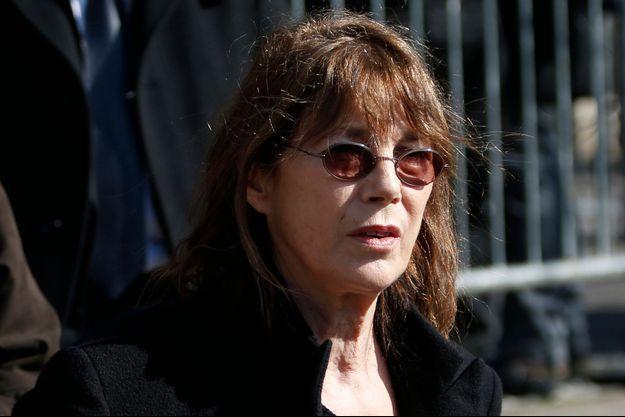Jane Birkin aux obsèques d'Alain Resnais à Paris le 10 mars 2014
