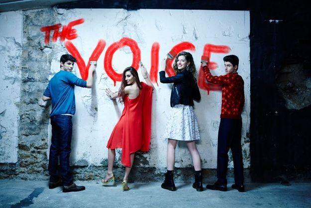 Street art en choeur pour les futures gloires de la chanson, Lilian, Hiba, Manon et David (de g. à dr.). Un seul mot d'ordre : « The Voice ».