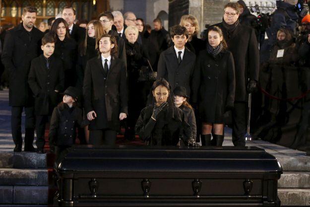 Céline Dion aux obsèques de René Angélil le 22 janvier 2016.
