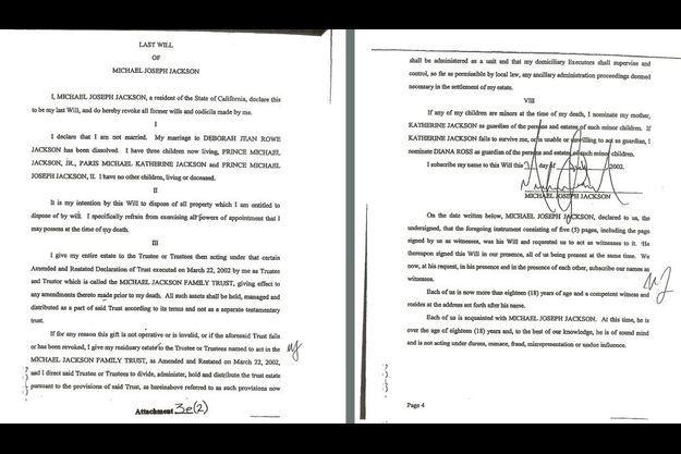 Les dernières volontés de Michael Jackson ont été rendues publiques le 1er juillet 2009 devant le tribunal supérieur de Los Angeles.