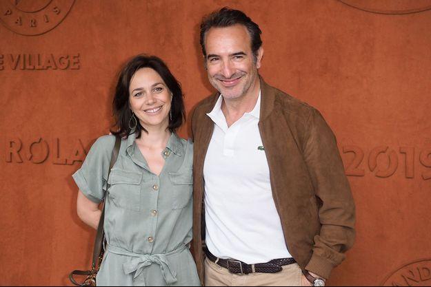 Nathalie Péchalat et Jean Dujardin à Roland-Garros en juin 2019