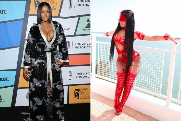 A gauche, Remy Ma, à droite Nicki Minaj.