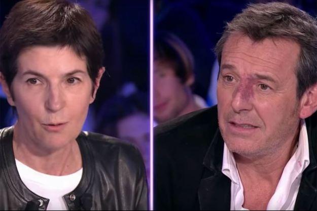 """Christine Angot et Jean-Luc Reichmann sur le plateau d'""""On n'est pas couché"""" samedi."""