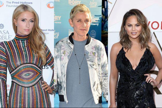 Paris Hilton, Ellen DeGeneres et Chrissy Teigen.