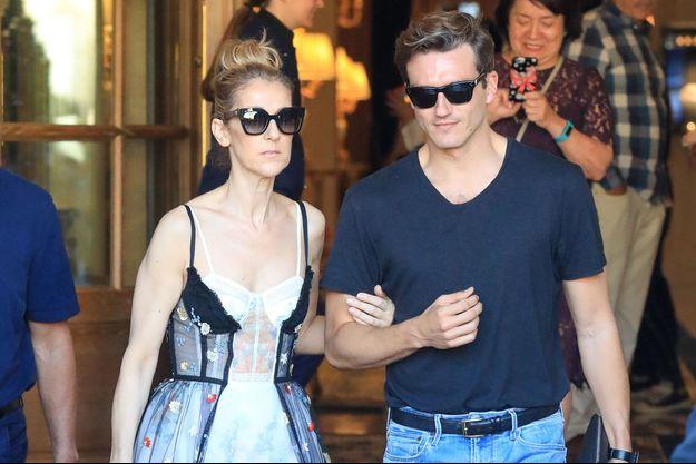 Céline Dion et Pepe Munoz à Paris, le 1er aout 2017.