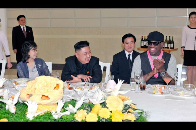 Ri Sol-Ju, Kim Jong-Un et Dennis Rodman, le 28 février.