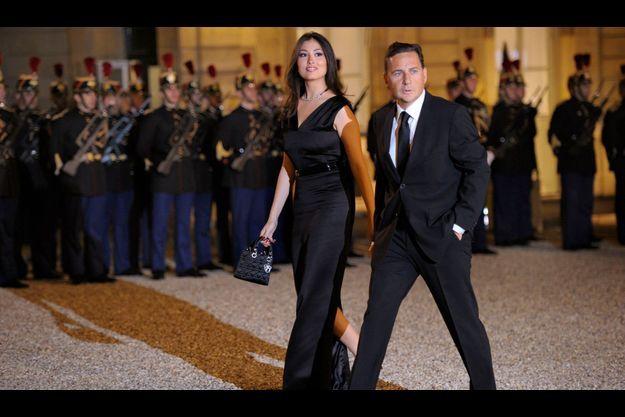 Yasmine Tordjman et Eric Besson lors d'un dîner d'Etat à l'Elysée, en novembre 2010.