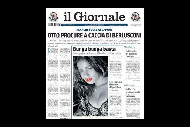 """""""Bunga bunga assez"""" titre Il Giornale, le quotidien de la famille Berlusconi qui publie une photo de Ruby."""