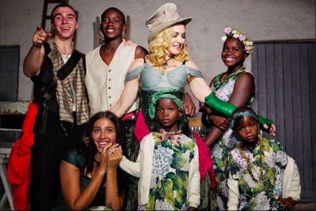 Madonna avec ses enfants en août 2017
