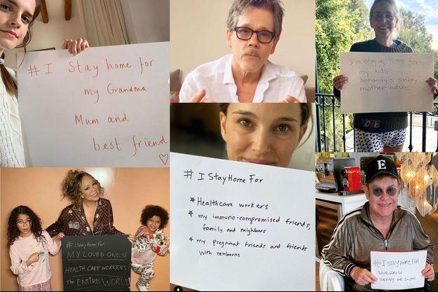 Emma Watson, Kevin Bacon, Sharon Stone, Maria Carey, Natalie Portman et Elton John comptent parmi les stars qui ont relayé le message #IStayHomeFor.