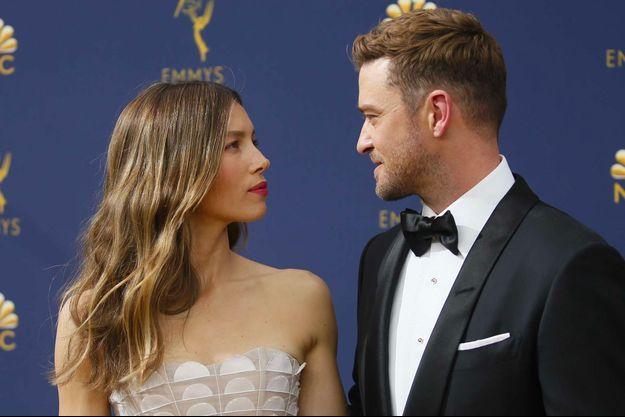 Jessica Biel et Justin Timberlake aux 70ème Emmy Awards, le 17 septembre 2018