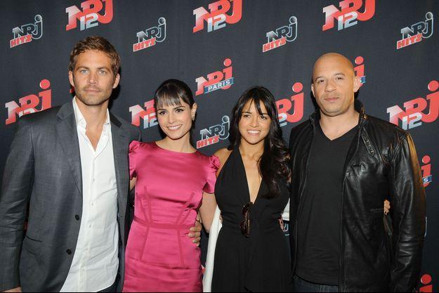 Paul Walker, Jordana Brewster, Michelle Rodriguez et Vin Diesel à Paris en 2009.