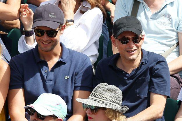 Marc-Olivier Fogiel et mari François Roelants à Roland Garros en 2017.