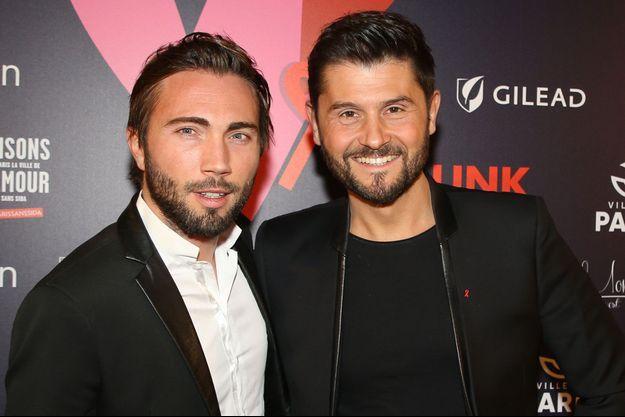 Christophe Beaugrand et son mari Ghislain à un gala de charité, à Paris, en février dernier.