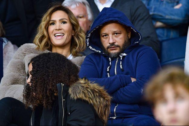 Vitaa et son mari Hicham Bendaoud, le 1er février au Parc des Princes, à Paris.