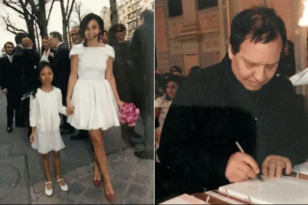 A g. : Mariage civil en Prada avec Oona, ma demoiselle d'honneur. A d.: A la mairie, Azzedine Alaïa signe le registre. Il a dessiné ma robe et celle d'Oona pour la cérémonie religieuse