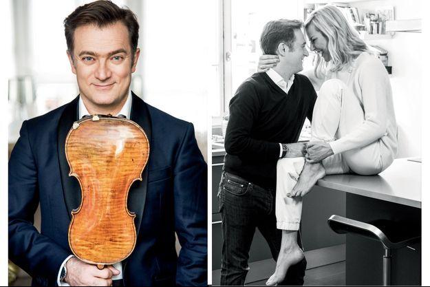 A g. : Avec son Vicomte de Panette (1737), un des 200 violons qui nous soit parvenus du célèbre luthier de Crémone, Guarnerius del Gesu, rival de Stradivarius. Personne n'a le droit d'y toucher, même pas Laurence. A d. : Quand ils se rencontrent, en 2008, il ignore qui elle est. Elle présente pourtant chaque soir le 20 Heures sur TF1. L'année suivante, ils se marient. Depuis, entre eux, pas de place pour l'habitude : cent cinquante jours par an, il est en voyage pour ses concerts.