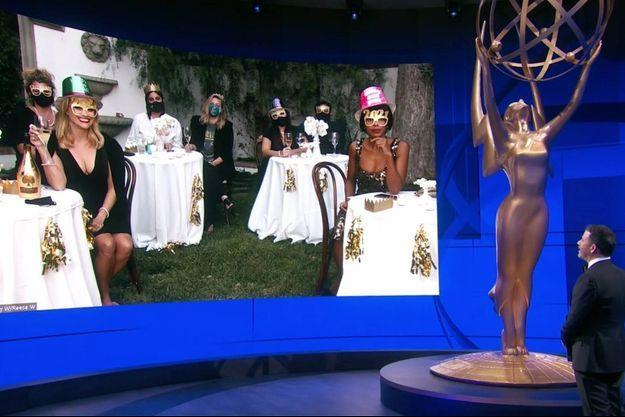La cérémonie des Emmy Awards s'est déroulée dimanche soir sans public et les nominés y ont assisté à distance.