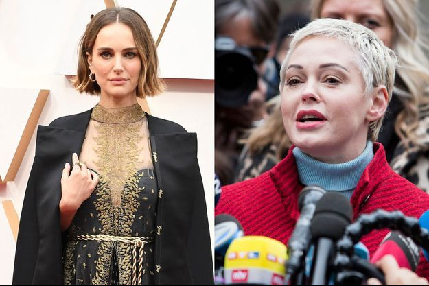 Natalie Portman lors des Oscars en février 2020 et Rose McGowan à New York en janvier dernier.