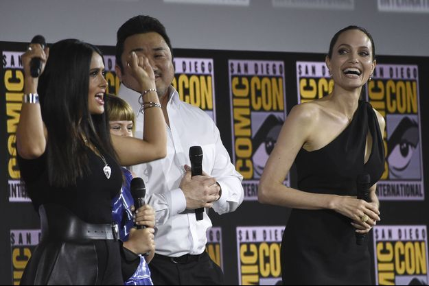 Salma Hayek, Don Lee et Angelina Jolie au Comic-Con à San Diego le 20 juillet 2019