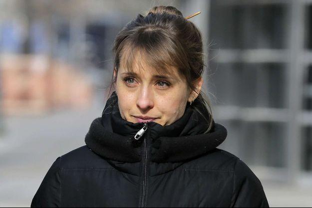 Allison Mack en janvier 2019 à New York lors d'une audience au tribunal