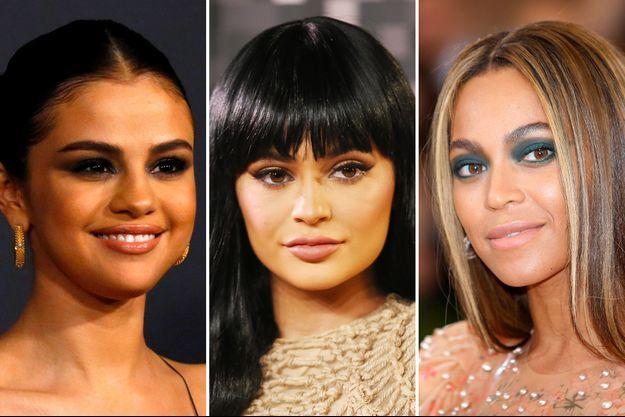 De gauche à droite : Selena Gomez, Kylie Jenner, Beyoncé