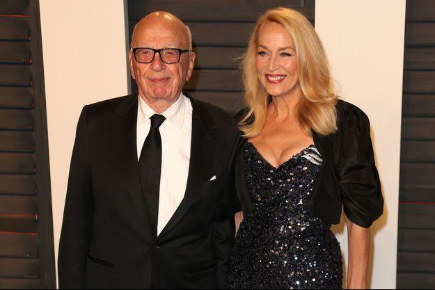 Rupert Murdoch et Jerry Hall à Los Angeles le 28 février 2016.