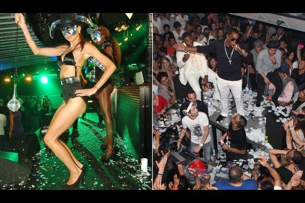 A gauche. Pluie de paillettes et de créatures façon Ibiza au Palais à Cannes, repris cette saison par Laurent de Gourcuff qui tient à Paris le Raspoutine. A droite, c'est à Saint-Tropez que Puff Daddy construit chaque été sa légende. Ici au VIP Room.