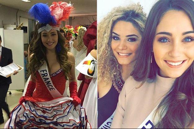 """A gauche, Charlotte Pirroni version """"Folies Bergères"""". A droite, complice avec Miss Belgique."""