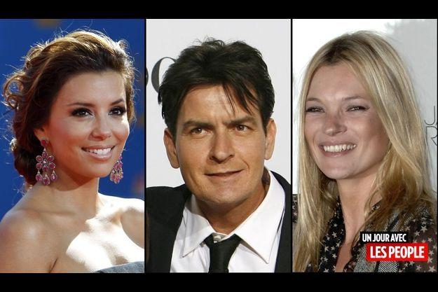 Eva Longoria, Charlie Sheen et Kate Moss