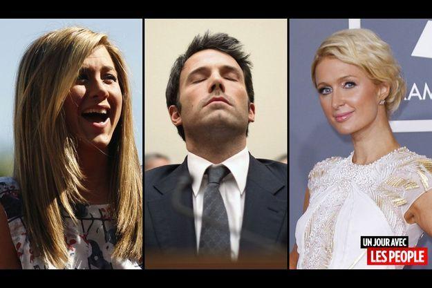 Jennifer Aniston, Ben Affleck et Paris Hilton.