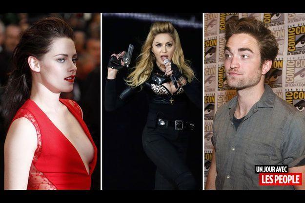 Kristen Stewart, Madonna et Robert Pattinson.