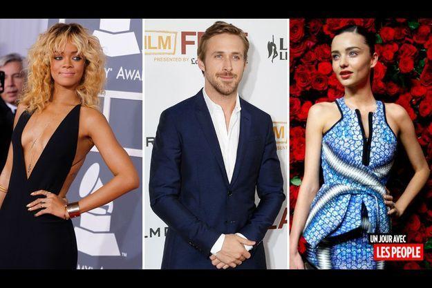 Rihanna, Ryan Gosling et Miranda Kerr.