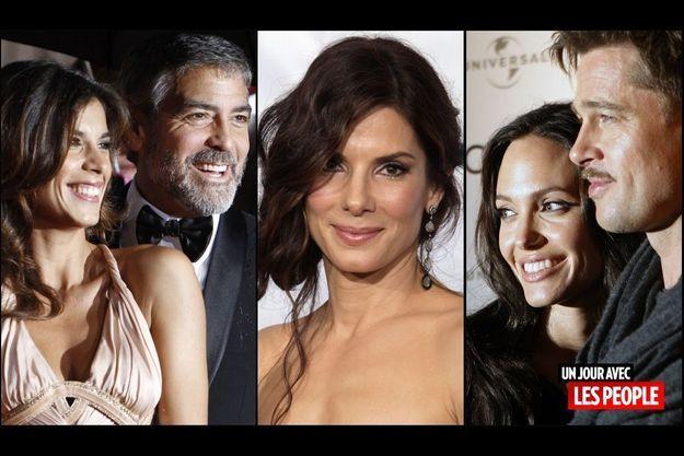 George Clooney et Elisabetta Canalis, Sandra Bullock, Angelina Jolie et Brad Pitt
